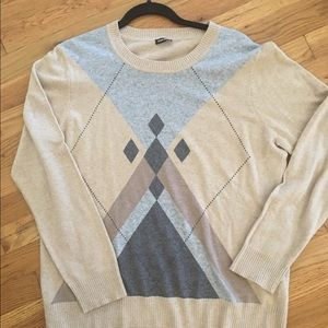 Cotton sweater with geometric design